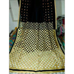 Stylish Black With Creme Mirror Work Party Saree