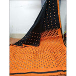 Stylish Black With Orange Mirror Work Party Saree