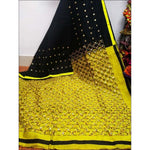 Stylish Black With Yellow Mirror Work Party Saree Party saree