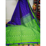 Stylish Blue With Green Mirror Work Party Saree