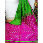 Stylish Green With Pink Mirror Work Party Saree
