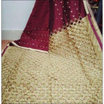 Stylish Maroon With Creme Mirror Work Party Saree