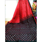 Stylish Red With Black Mirror Work Party Saree