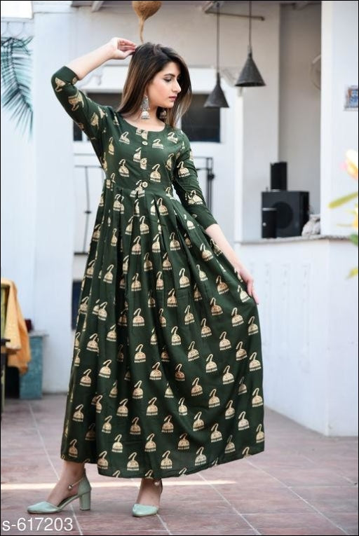 Stylish Women Green Rayon Long Kurtis Kurti