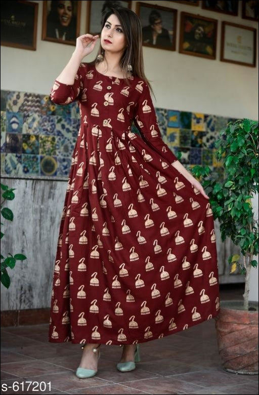 Stylish Women Maroon Rayon Long Kurtis Kurti