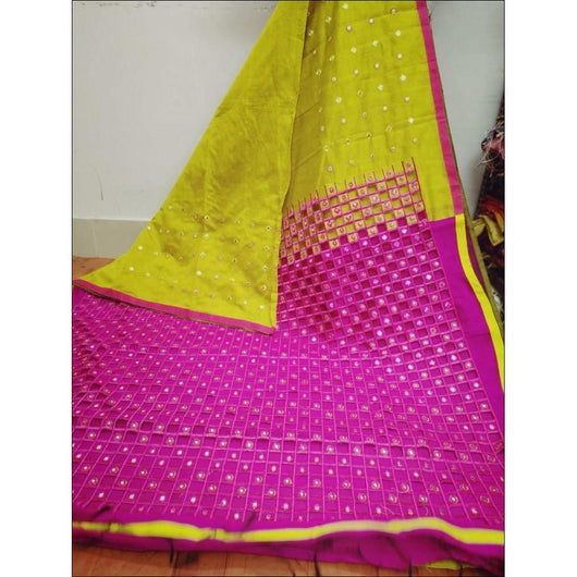Stylish Yellow With Pink Mirror Work Party Saree