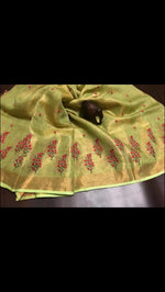 Tissue linen embroidered saree Saree