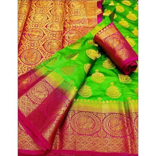 Traditional Green With Contrast Pink Border Soft Vastrakala Silk Saree