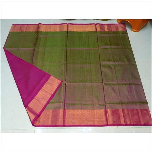 Traditional Green With Pink Double Shaded Uppada Pattu Soft Silk Saree