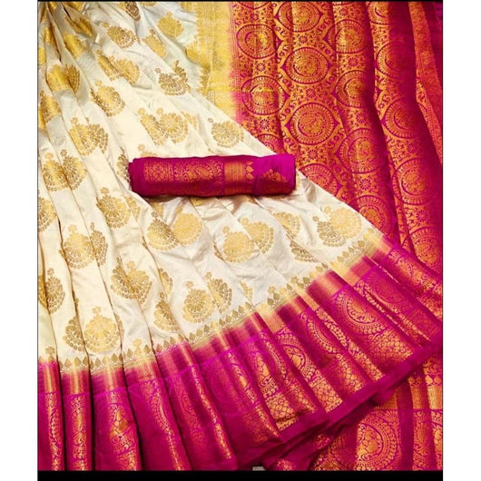 Traditional Half White With Contrast Pink Border Soft Vastrakala Silk Saree