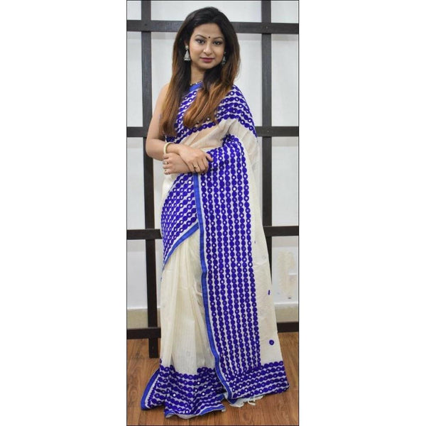 Trendy White With Blue Mirror Work Party Saree