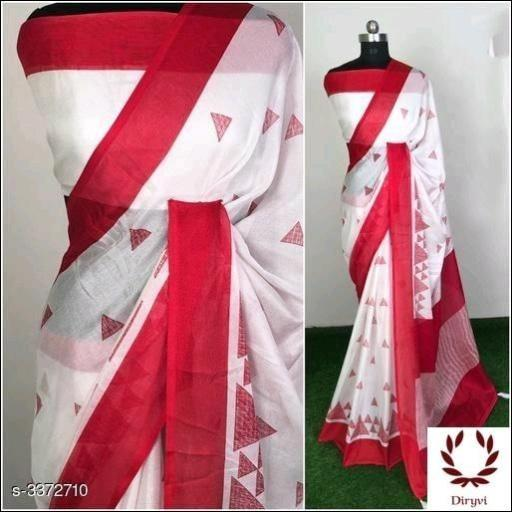 White Attractive Semi Lenin Party Saree