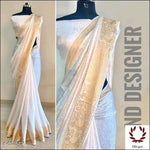 White Sana Silk Party Saree With Woven Design Party saree