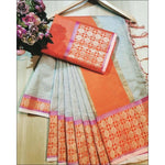 White With Orange Doriya Summer Wear Party Saree