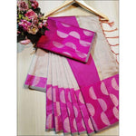 White With  Pink Doriya Summer Wear Party Saree
