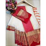 White With Red Doriya Summer Wear Party Saree