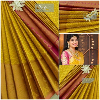 Yellow and Pink Exclusive Bridal Collection Silk Saree