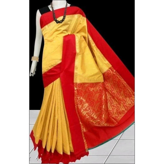 Yellow Banarasi Kanjeevaram Silk Saree With Contrast Border