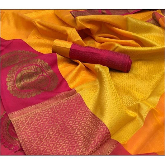 Yellow Banarasi Kora Muslin Party Saree