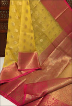 Yellow Grand And Trendy Kora Muslin Party Saree Silk Saree