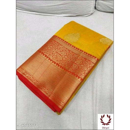 Yellow Grand Soft Banarasi Silk Saree With Woven And Sari Work