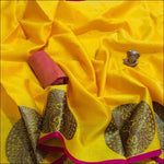 Yellow Ravishing Banarasi Silk Party saree