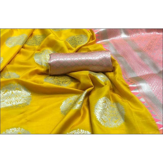 Yellow Soft Weaving Silk Saree With Gorgeous Zari Weaves