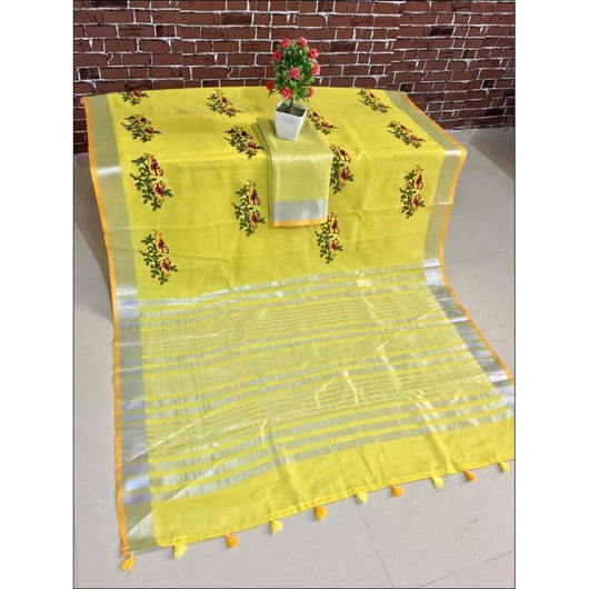 Yellow Trendy Linen Party Saree With Embroidery Worrk