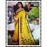 Yellow Trendy Linen Party Saree With Fancy Tussels