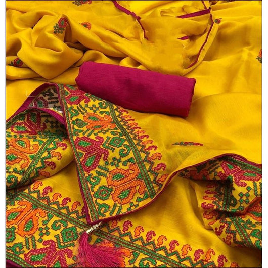 Yellow Trendy Two Tone Chiffon Silk With Kashmiri Embroidery Party saree