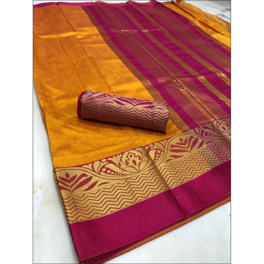 Yellow With Contrast Border Kundan Raw Silk Saree