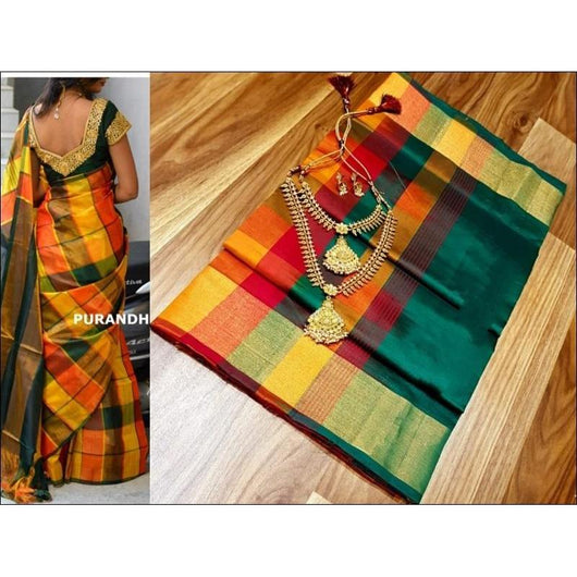 Yellow With Green Multi Coloured Checks Tradition Pure Silk Cotton Silk Saree