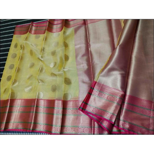Yellow With Pink Beautiful Banarasi Kora Organza Soft Silk Saree