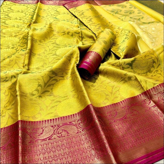 Yellow With Pink Trendy Thancoi Silk Saree With Contrast Border