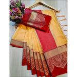 Yellow With Red Doriya Summer Wear Party Saree