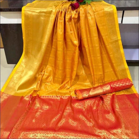 Yellow With Red Traditional Soft Kanjivaram Silk Saree