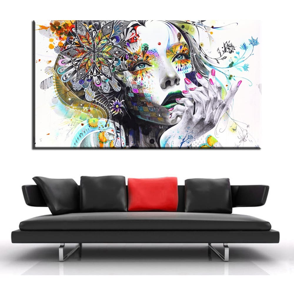 xh101-Watercolor-Modern-wall-art-girl-with-flowers-oil-painting-Prints-Painting-on-canvas-No-frame (2)