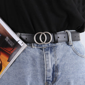 Women's double round buckle simple trend fashion belt