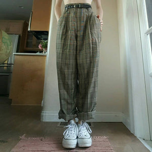Casual Check Straight Trousers