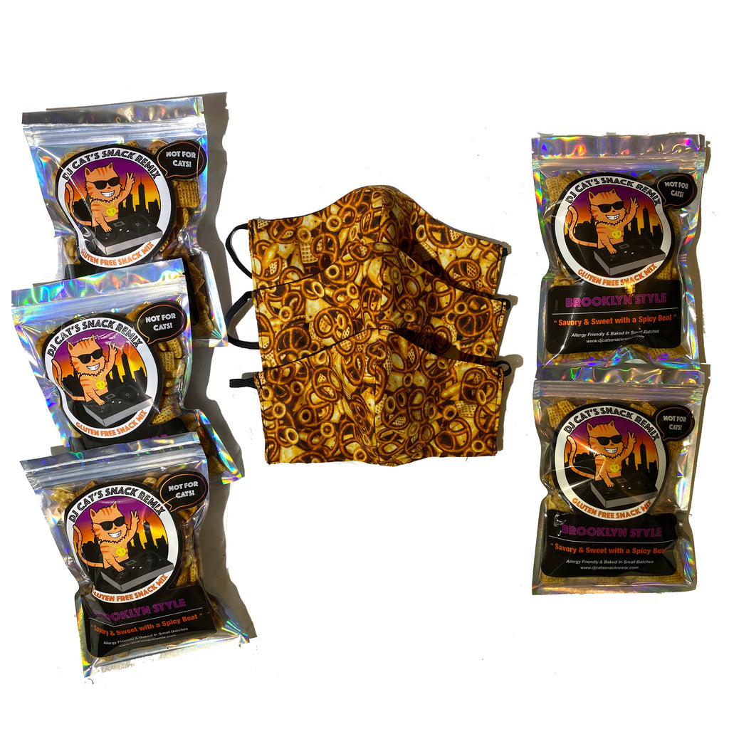 5 Mini Brooklyn style  + 3 Reusable Limited Edition Snack Mix Face Mask