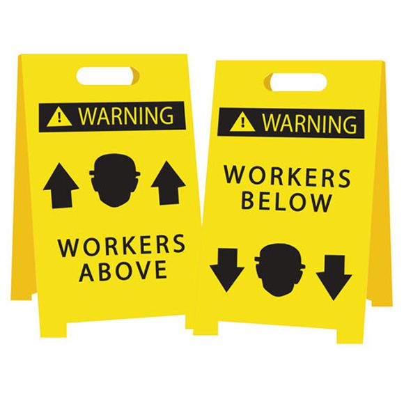 Economy Floor Stand - Warning Workers Above/Below - Reversible