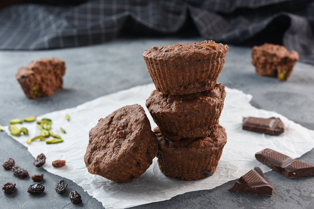 Chocolate Pistachio Vegan Protei-Muffin with Raisin