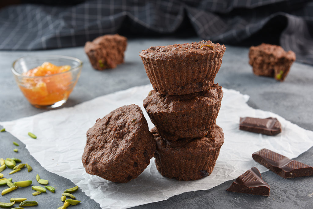 Chocolate Pistachio Vegan Protei-Muffin with Orange