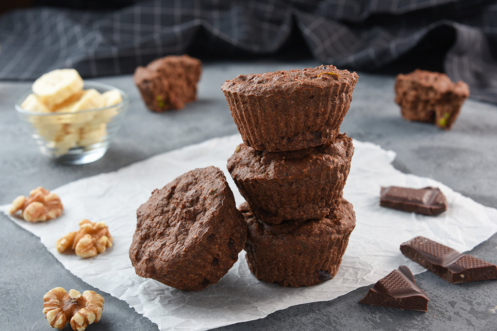 Chocolate Banana Protei-Muffin with Walnut