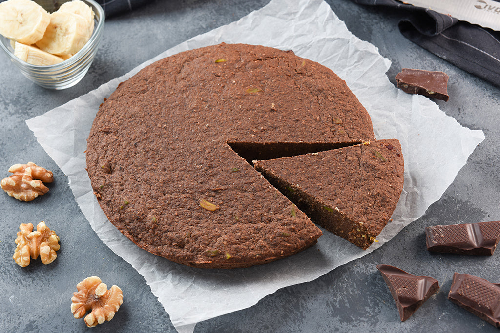 Chocolate Banana Vegan Protei-Cake with Walnut