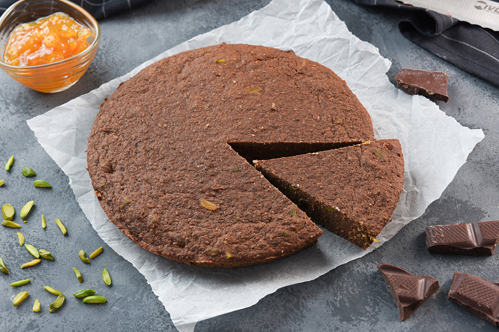 Chocolate Pistachio Vegan Protei-Cake with Orange