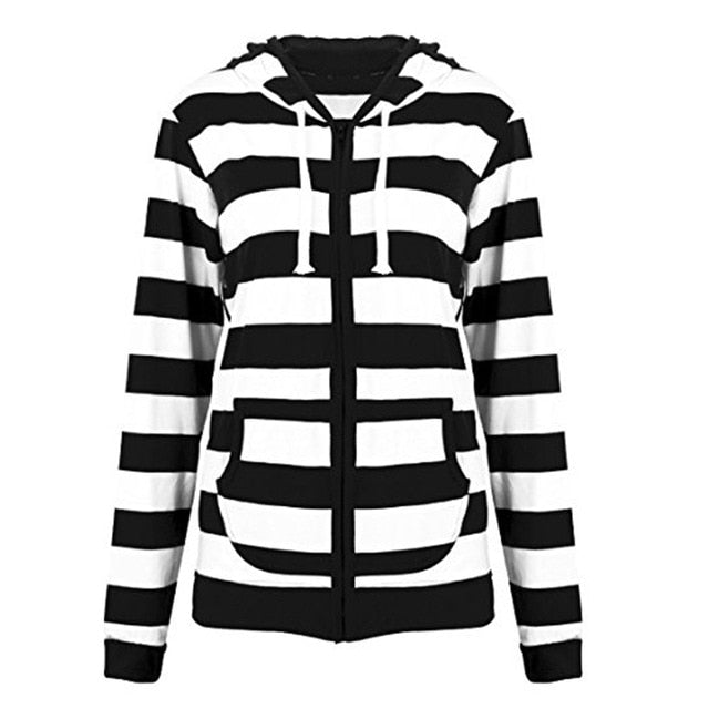 2018 Autumn Women Striped Hoodies Sweatshirt Long Sleeve Hooded Zipper –  SOMCOLLECTION 09cc4c25b