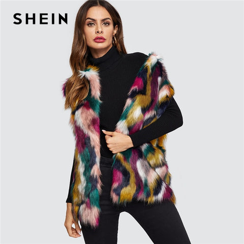 31929b41cce SHEIN Open Front Colorful Faux Fur Wide Waist Vest Fashion Multicolor High  street Sleeveless Coat Winter ...