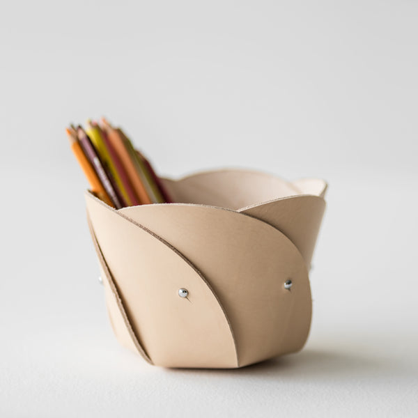 Poppy Natural Leather Basket
