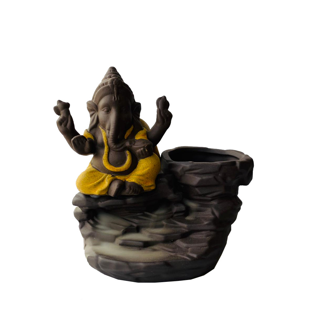 Porta Incienso Cascada Mini Ganesh Amarillo + 10 inciensos especiales